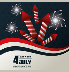 4th july independence day fireworks festive vector image