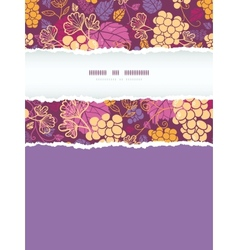 Sweet grape vines vertical torn frame seamless vector
