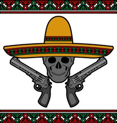 Skull with sombrero and pistols vector