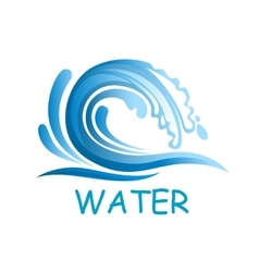 Blue wave with water splashes vector image