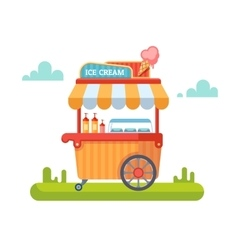 Trolley with ice cream vector