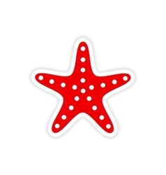 Icon sticker realistic design on paper sea star vector