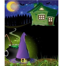 Witch hat cauldron and haunted house vector