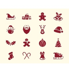 Christmas happy new year and winter icons vector
