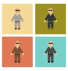 Assembly flat icons poker male guard vector