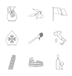 Attractions of Italy icons set outline style vector image vector image