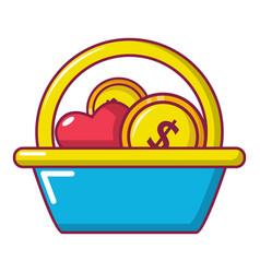basket donate icon cartoon style vector image