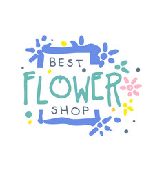 Best flower shop logo template hand drawn vector