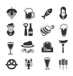 Black Beer Icon Set vector image vector image
