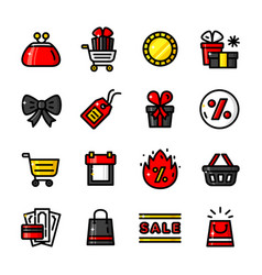 black friday icons vector image vector image