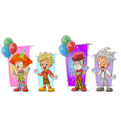 Cartoon clown with balloon character set vector