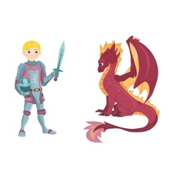 Cartoon knight with fierce dragon on white vector image