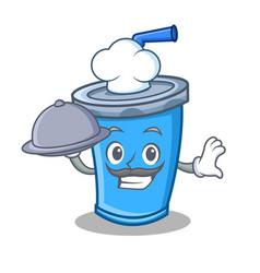 Chef with food soda drink character cartoon vector
