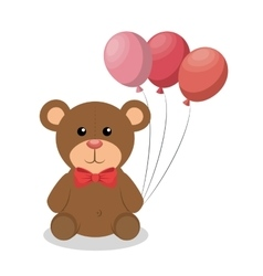 Cute bear with balloons party baby icon vector