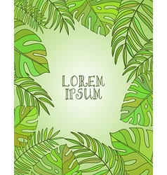 Decorative frame with tropical leaves vector image