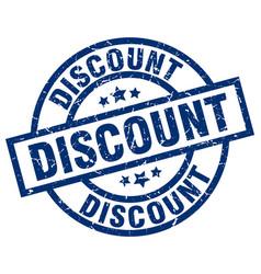 Discount blue round grunge stamp vector