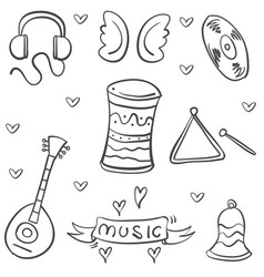 Doodle musical instrument theme art vector