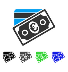 Euro money credit card flat icon vector