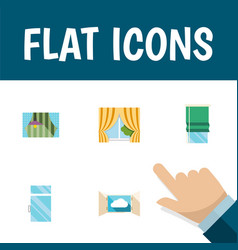 Flat icon window set of cloud curtain balcony vector