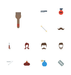 Flat icons razor cotton buds bristle and other vector
