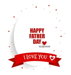 Happy fathers day card design with red ribbon vector image
