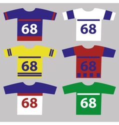 ice hockey jersey set with player numbers eps10 vector image vector image