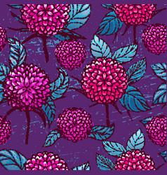 ink hand drawn chrysanthemums seamless pattern vector image