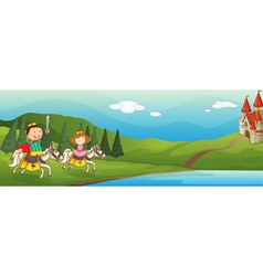 Kids castle background vector