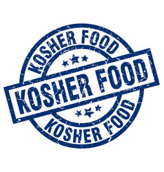 Kosher food blue round grunge stamp vector