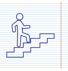 Man on stairs going up navy line icon on vector
