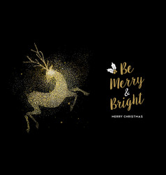 Merry christmas gold glitter deer holiday card vector
