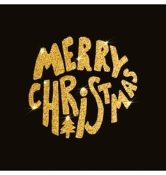 Merry Christmas Hand drawn lettering on dark vector image vector image