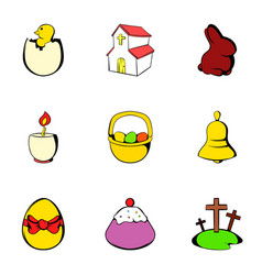 Painting eggs icons set cartoon style vector