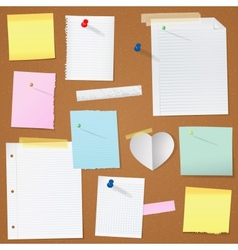 paper notes on cork board vector image