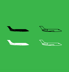 private airplane icon black and white color set vector image vector image