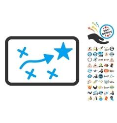 Route plan icon with 2017 year bonus symbols vector