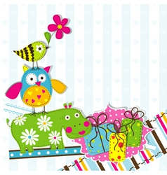 scrapbook animals card template vector image vector image