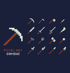 set of pixel art tools icons axe pick vector image vector image