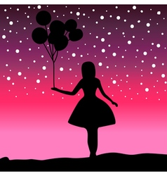 Silhouette girl holding a balloon vector