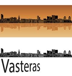 Vasteras skyline in orange vector image vector image