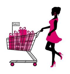 Woman wheels a cart with gifts and shopping vector