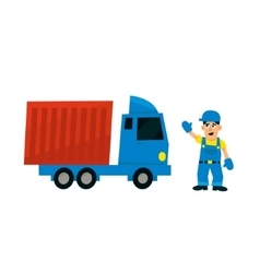 Worker and delievery truck vector