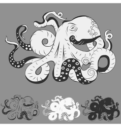 Octopus with curling tentacles vector