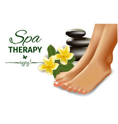 Spa concept with realistic female feet frangipani vector