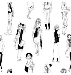 Seamless pattern with sketched girls vector