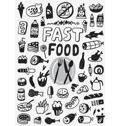 Fast food - doodles set vector image