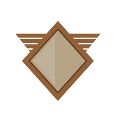 brown shield winged shape geometric badge vector image