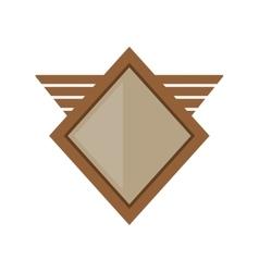 brown shield winged shape geometric badge vector image