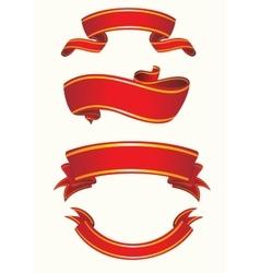 Set of red ribbon vector image