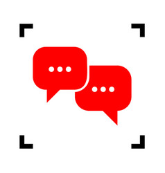 Speech bubbles sign  red icon inside black vector